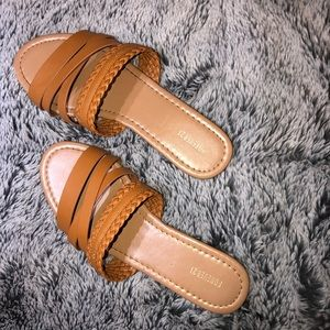 Tan Forever 21 sandals with woven detail